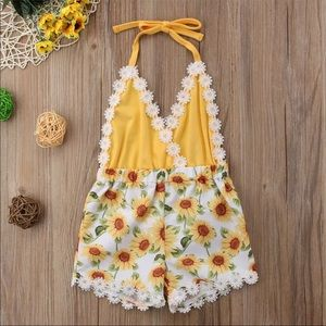 Boutique Sunflower baby girl romper
